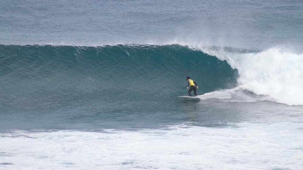 Daniel on a beautiful looking wave out the front.