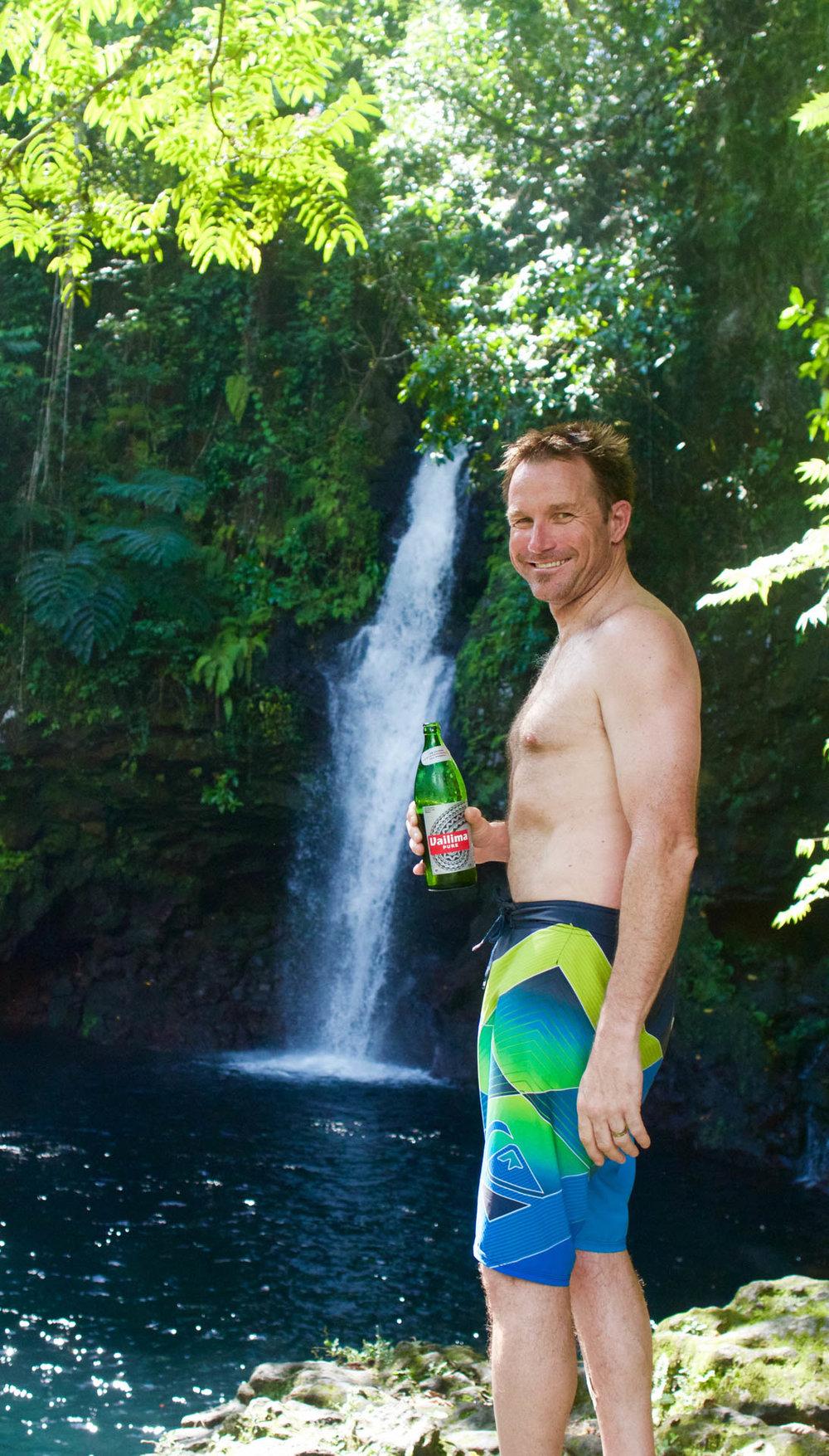 Beer + Waterfall = Happy