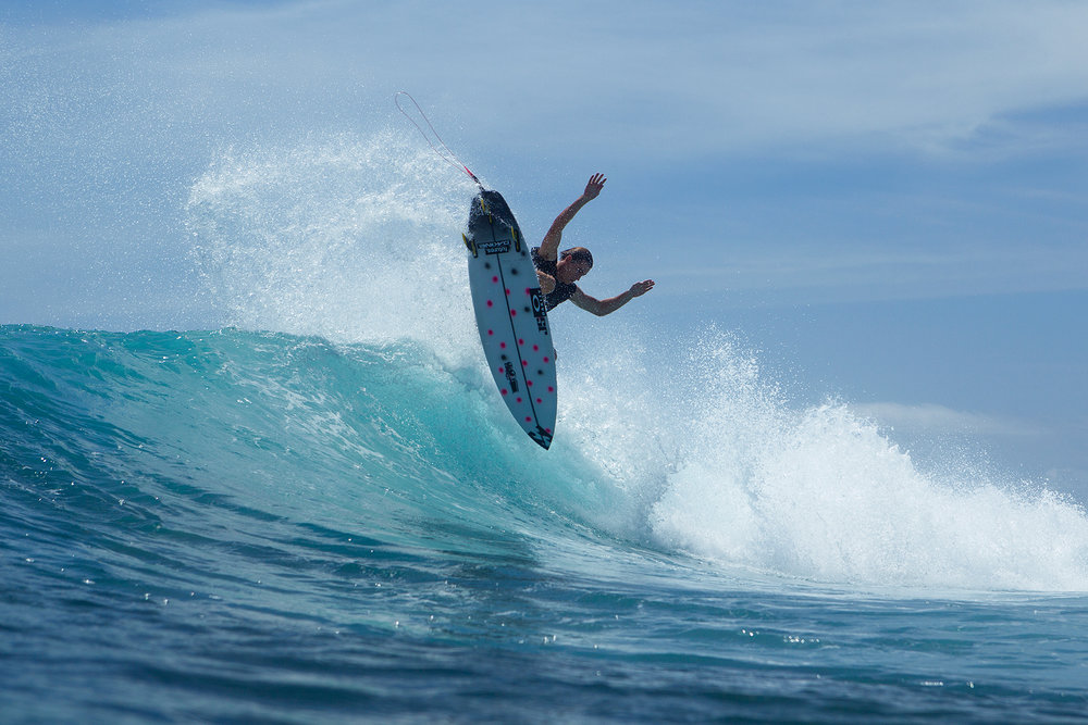Riley flying his fins.