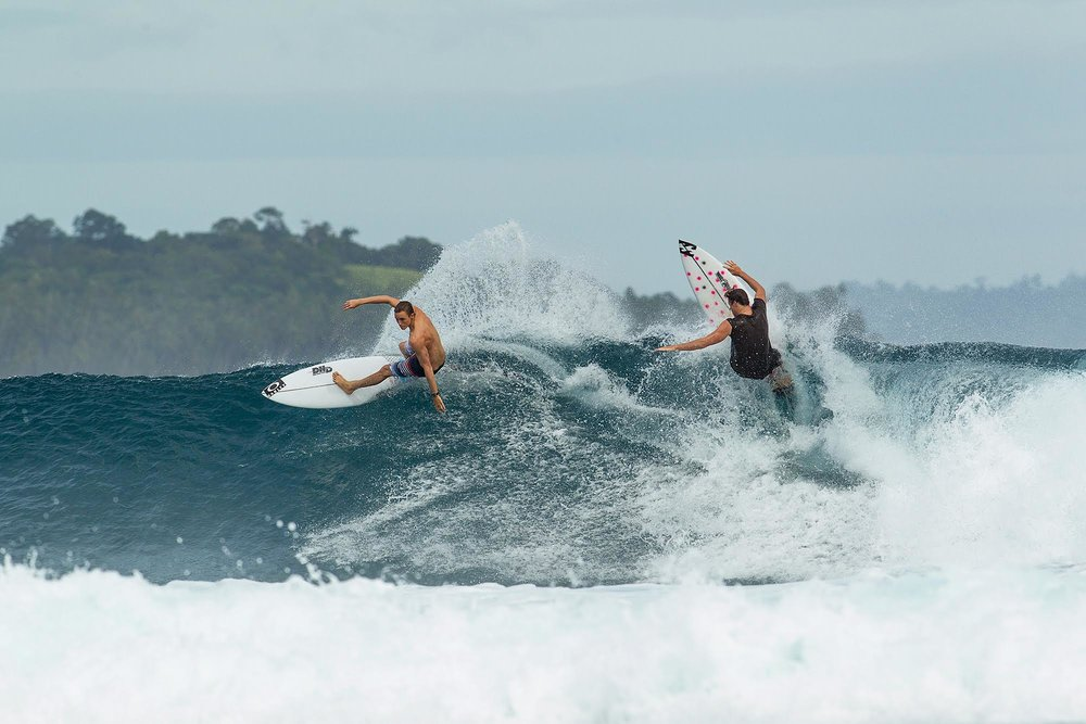 The boys found plenty of waves to share out here in the Telos.