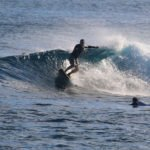 PJ impressed us n his backhand at the Aganoa Right, showing us his style was a sleek as his surfboards
